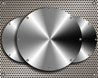 Background of steel disks on a metal grid Stock Photo