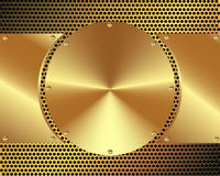 Background of steel gold disks on a metal grid Royalty Free Stock Images