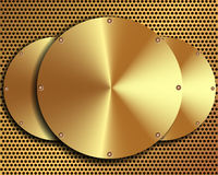 Background of steel gold disks on a metal grid 2. Background of steel gold disks on a metal grid for your design Stock Illustration