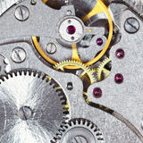 Background from steel mechanical clockwork Royalty Free Stock Image