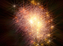 The background of stellar fireworks. Background as a shining star of fireworks in the night sky Stock Photos