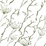 Background of stems, grass, branches and flowers. Seamless pattern. stock illustration