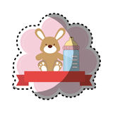 Background sticker with ribbon and bunny toy with Royalty Free Stock Photos