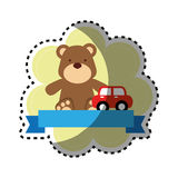 Background sticker with ribbon and teddy bear with toy car Royalty Free Stock Image