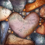 Background with stone hearts Stock Photography