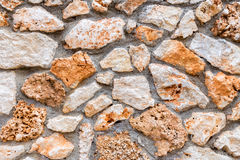 Background of stony wall with cement Royalty Free Stock Image