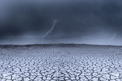 Background stormy weather and dry ground Stock Photo
