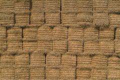 Background of straw bales. Baled straw royalty free stock images