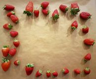 Background of strawberries for greetings and blessings: anniversaries, Valentine`s Day, birthdays, restaurant, love, friendship Royalty Free Stock Image