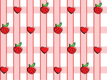 Background in strawberries and hearts. Strawberries and hearts on a pink checkered background Royalty Free Stock Photography