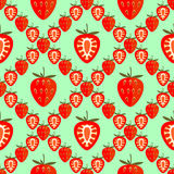 Background with strawberries, whole and half, over green backdrop. Seamless fruits vector pattern, bright color geometric background with strawberries, whole and Stock Image