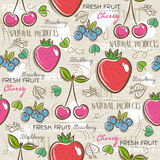 Background with  strawberry, blueberries and cherry, vector Royalty Free Stock Images