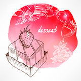 Background with strawberry cake Stock Photos