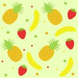 Background  with strawberry pineapple  and banana Royalty Free Stock Images