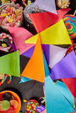 Background of string of colorful party flags Royalty Free Stock Photography