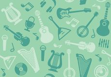 Background with string musical instruments. Seamless background with string musical instruments. Vector illustration Stock Photos