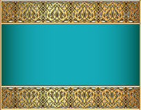 Background with a strip with Celtic pattern of gol Royalty Free Stock Photo