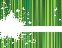 Background with stripes. Green floral background with stripes Royalty Free Illustration