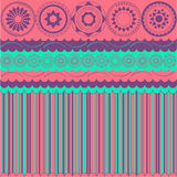 Background with stripes and circular motifs. In pink tones vector illustration