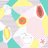 Background in style of a collage. Tropical fruits and abstract shapes Royalty Free Stock Photos