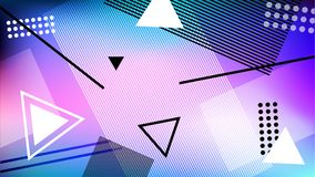 Background in the style of memphis. Geometric figures on the cosmic gradient. Stock Images