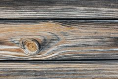 Background in style a rustic from old horizontal wooden boards close up. Background in style a rustic from old horizontal wooden unpainted boards with a knot royalty free stock photo