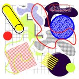 Background in the style of. The 80`s from circles, squares, grids, lines, waves, different bright colors, on a white background with a cage, a memphis vector illustration