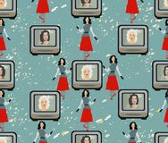 Background in the style of 50s. TVset, Hollywood divas, fashion. Model. Seamless pattern royalty free illustration