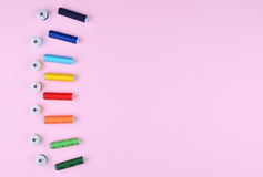 Background with sewing tools and accessories. stock photos