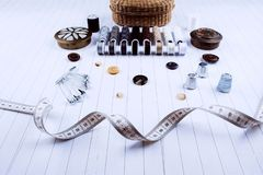 Background with sewing tools and accessories. Stock Images