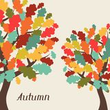 Background of stylized autumn trees for greeting Stock Image