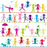 Background with stylized children playing Stock Images