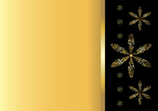 Background with stylized gold flowers Royalty Free Stock Photography