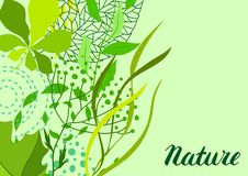 Background of stylized green leaves for greeting cards. Nature illustration vector illustration