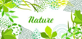 Background of stylized green leaves for greeting cards. Nature illustration royalty free illustration