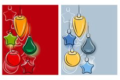 Background with stylized hanging Christmas balls. Stock Images