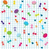 Background with stylized kids Royalty Free Stock Images