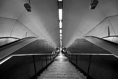 Subway station staircase in black and white. Background subway station staircase in black and white stock image