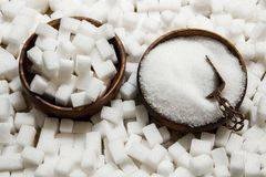 Background of sugar.Cube sugar background stock photo