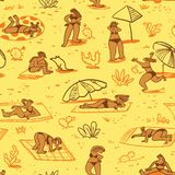 Background with summer beach girls. Seamless pattern with doodl. E cute woman character sunbathing in different poses. Isolated female figures. Vector royalty free illustration