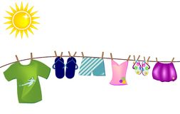 Background with summer clothes hanging by a thread Stock Photography