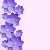 Background with summer 3d flowers violets. Floral trendy creative background with stylized purple summer 3d flowers violets. Beautiful stylish modern wallpaper Stock Images