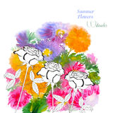Background  with summer flowers and watercolors-08 Stock Photo