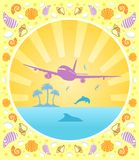 Background summer with plane Stock Photo
