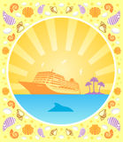 Background summer with ship Royalty Free Stock Image