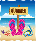 Background with summer sign, flip and starfish Stock Photo