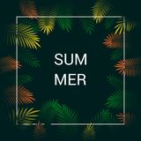 Background Summer Tropical Leaves Vector Design. stock illustration