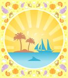 Background summer  with yacht Royalty Free Stock Photo