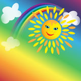 Background with Sun, rainbow and clouds. With place for text Royalty Free Stock Photo