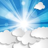 Background with sun, rays and clouds Royalty Free Stock Photography